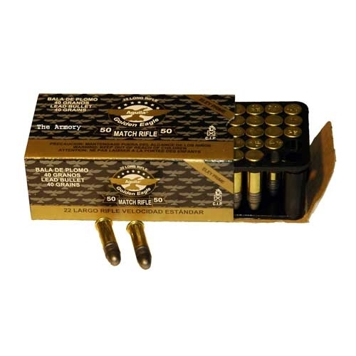 Aguila Gold Eagle Match 22 Long Rifle Ammo 40 Gr Lead Solid Point