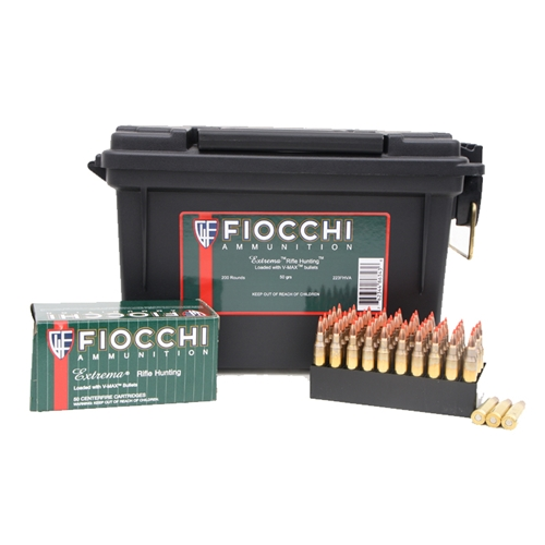 Fiocchi Extrema 223 Remington Ammo 50 Grain Hornady V-Max in Ammo Can
