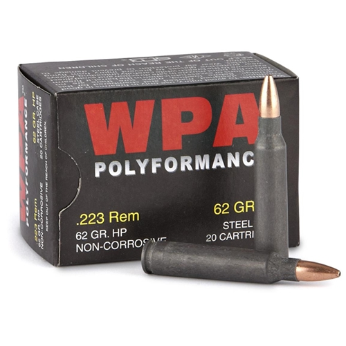 Wolf Polyformance 223 Remington Ammo 62 Gr HP Steel Case