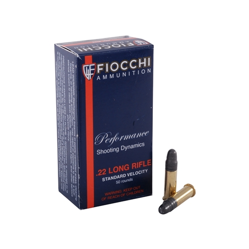 Fiocchi 22 Long Rifle Ammo 40 Grain Plated Lead Round Nose