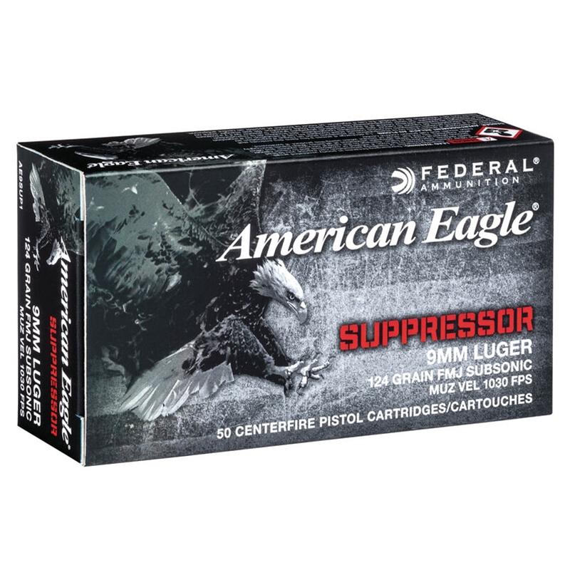 Federal American Eagle Suppressor 9mm Ammo 124 Grain Subsonic FMJ