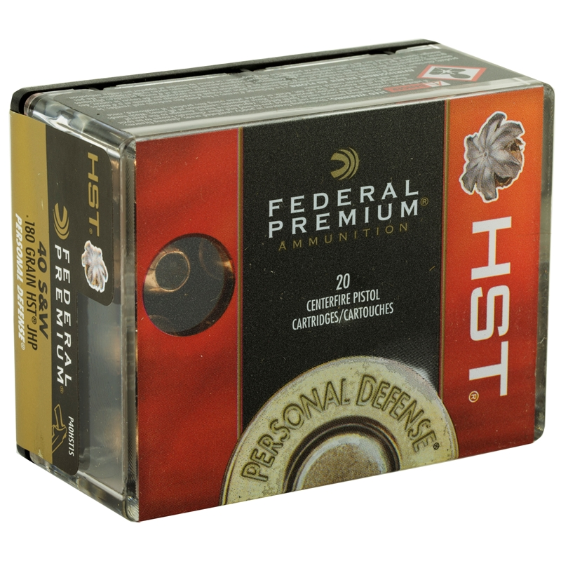 Federal Personal Defense 40 S&W Ammo 180 Grain HST JHP