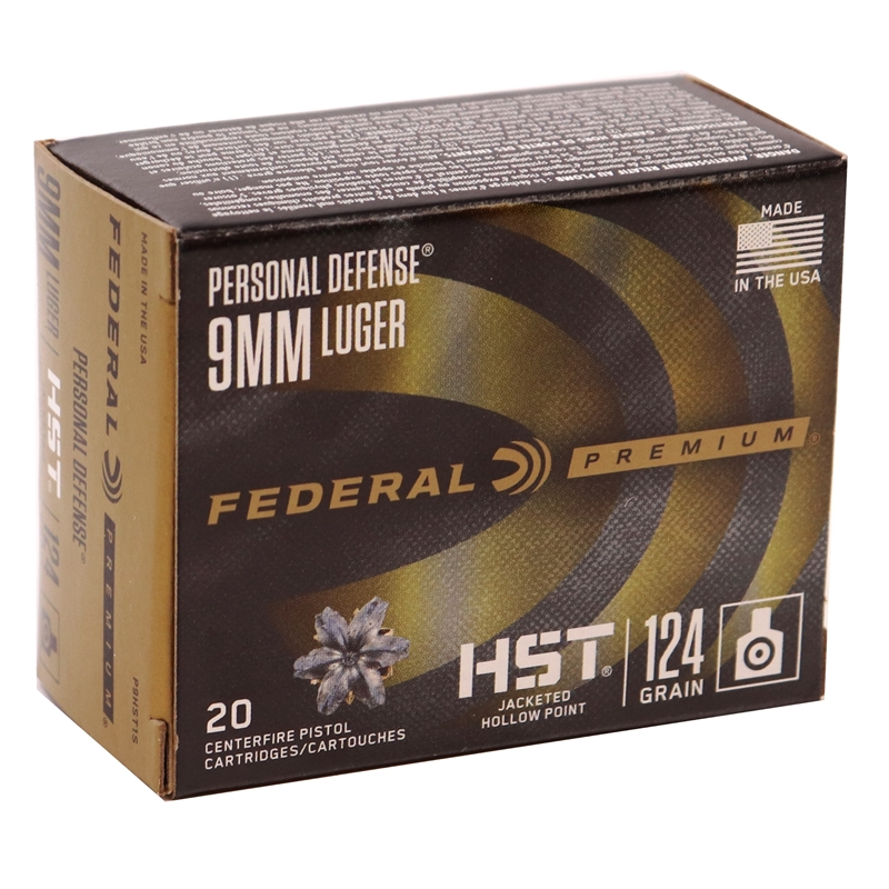 Federal Personal Defense 9mm Luger Ammo 124 Grain HST JHP