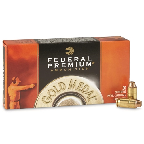 Federal Gold Medal 45 ACP Auto Ammo 185 Grain FMJ SWC