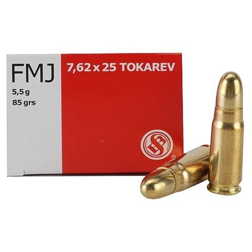 Sellier & Bellot 7.62x25mm Tokarev Ammo 85 Grain FMJ