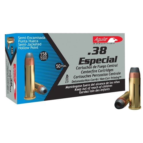 Aguila 38 Special Ammo 158 Grain Semi-Jacketed Hollow Point
