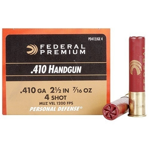"Federal Personal Defense 410 Gauge Ammo 2 1/2"" 7/16oz. #4 Shot"