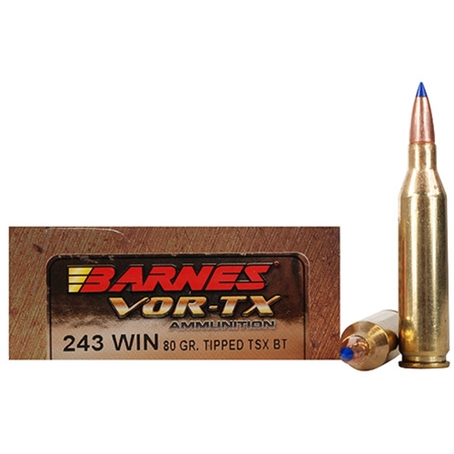Barnes VOR-TX 243 Winchester 80 Gr Tipped Triple-Shock X BTLF