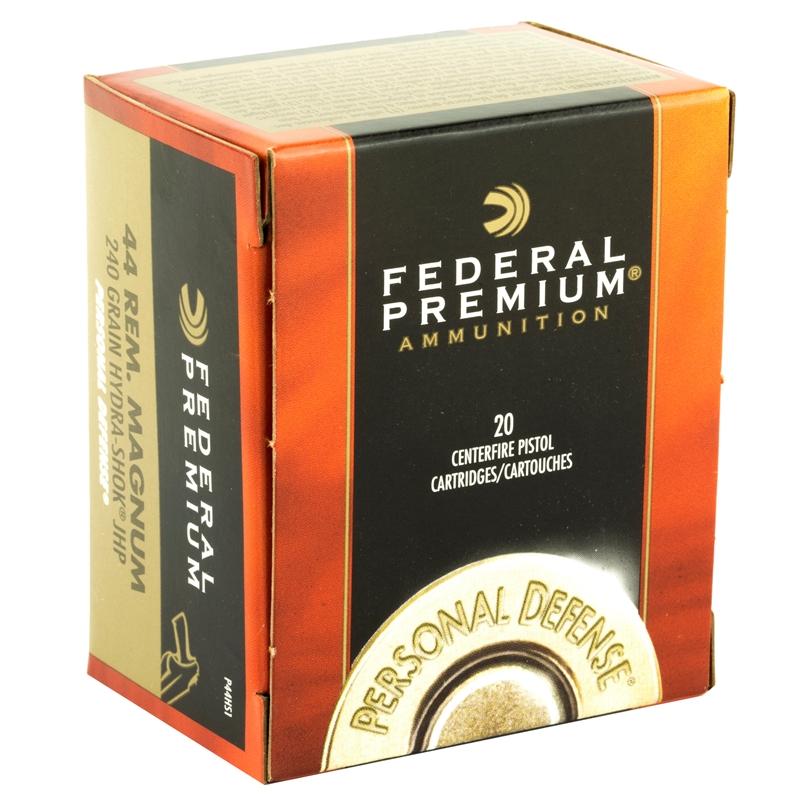 Federal Premium 44 Remington Magnum Ammo 240 Grain Hydra-Shok Jacketed Hollow Point