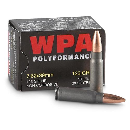 Wolf Polyformance 7.62x39mm Ammo 123 Grain JHP Steel Case