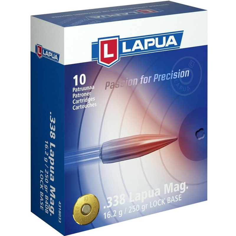 Lapua 338 Lapua Magnum Ammo 250 Grain Full Metal Jacket Boat Tail Lock Base