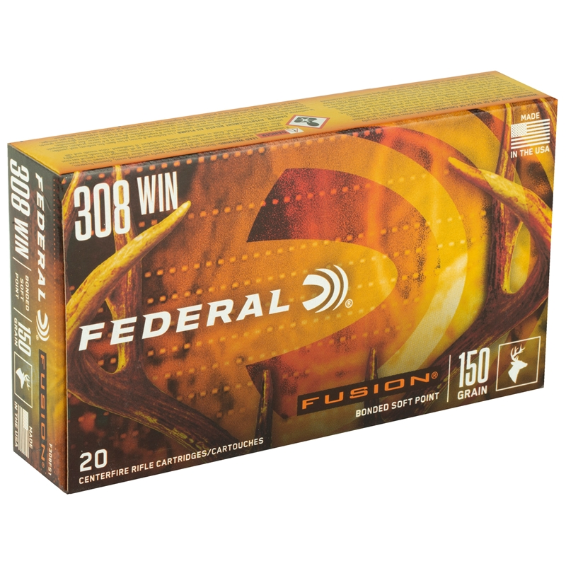 Federal Fusion 308 Winchester Ammo 150 Grain Spitzer BT