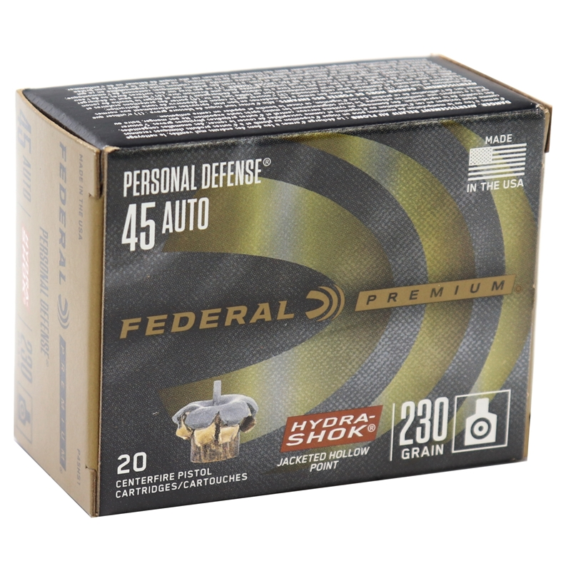Federal Personal Defense 45 ACP AUTO Ammo 230 Gr Hydra-Shok JHP