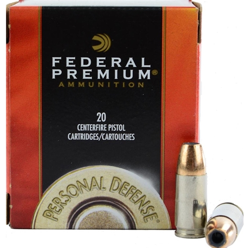 Federal Personal Defense 9mm Luger Ammo 147 Grain Hydra-Shok JHP