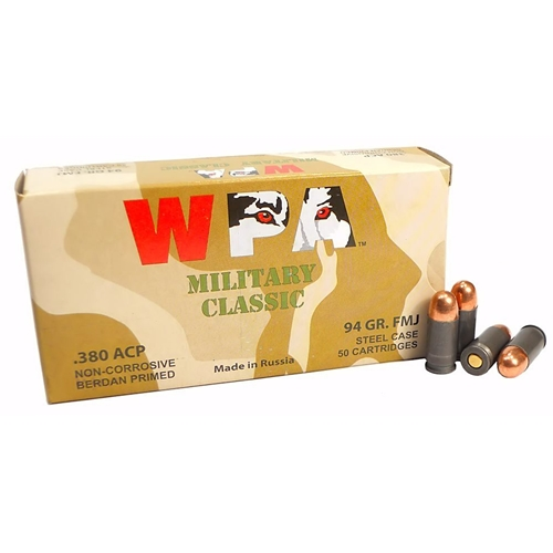 Wolf MC 380 ACP AUTO Ammo 94 Grain FMJ Steel Case