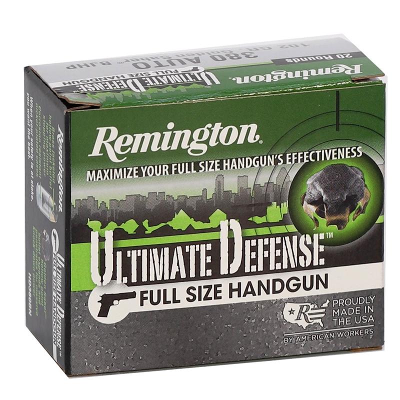 Remington Ultimate Defense 380 ACP AUTO Ammo 102 Grain Brass JHP