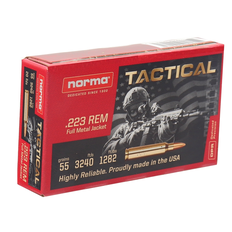 Norma USA 223 Remington Tactical Ammo 55 Grain Full Metal Jacket