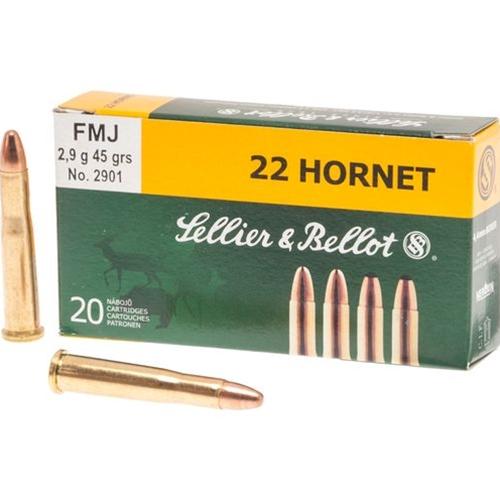 Sellier & Bellot 22 Hornet Ammo 45 Grain FMJ