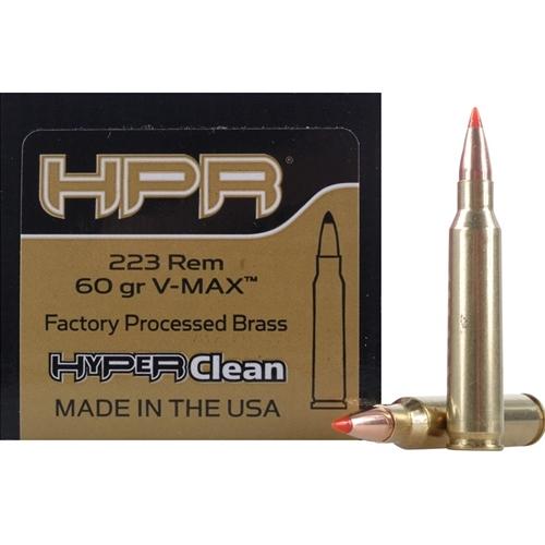 HPR HyperClean 223 Remington Ammo 60 Grain Hornady V-Max