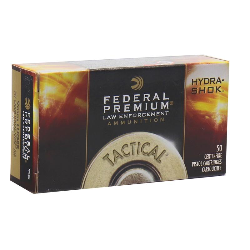 Federal Law Enforcement 9mm Luger Ammo 147 Grain Hydra-Shok JHP