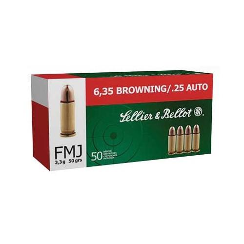 Sellier & Bellot 25 ACP AUTO Ammo 50 Grain FMJ
