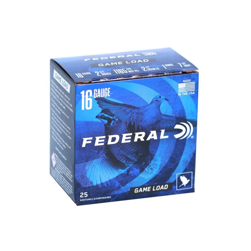 "Federal Game-Shok Field Load 16 Gauge Ammo 2-3/4"" 1oz #7-1/2 Shot"
