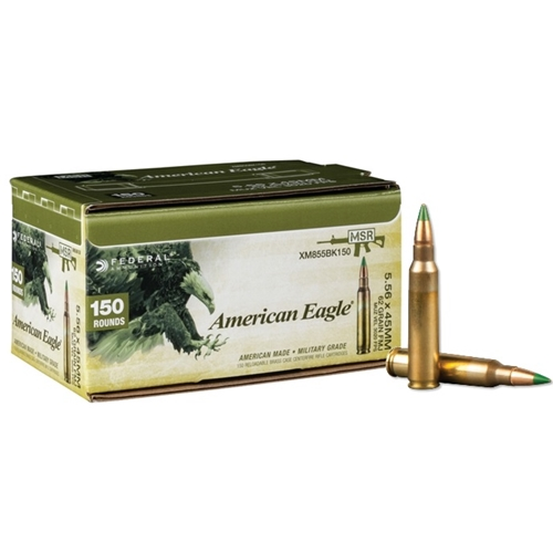 Federal American Eagle 5.56x45mm NATO M855 Ammo 62 Grain Green Tip FMJ 150 Round Pack