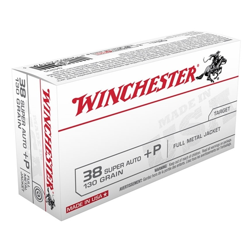 Winchester USA 38 Super +P 130 Grain Full Metal Jacket