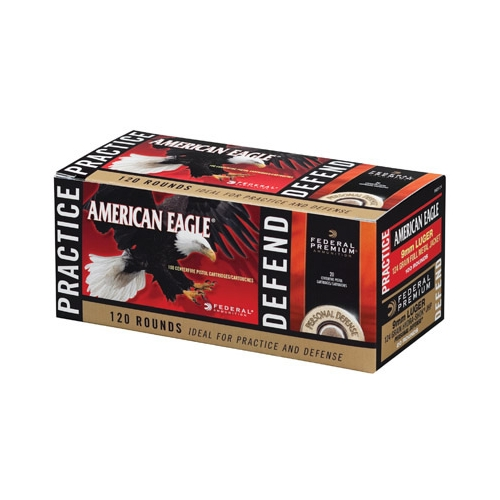 Federal American Eagle 9mm Luger Ammo FMJ/Hydra-Shok Combo Pack