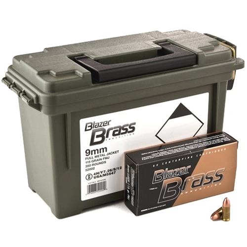 CCI Blazer Brass 9mm Luger Ammo 115 Grain FMJ Ammo Can