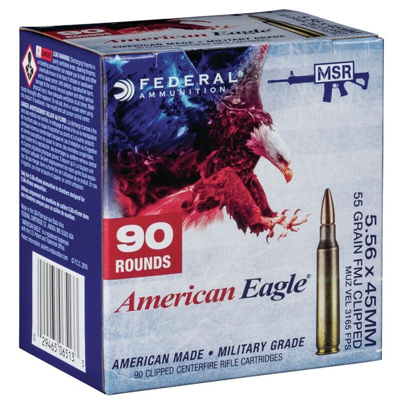 Federal American Eagle 5.56x45mm NATO Ammo 55 Grain FMJ BT