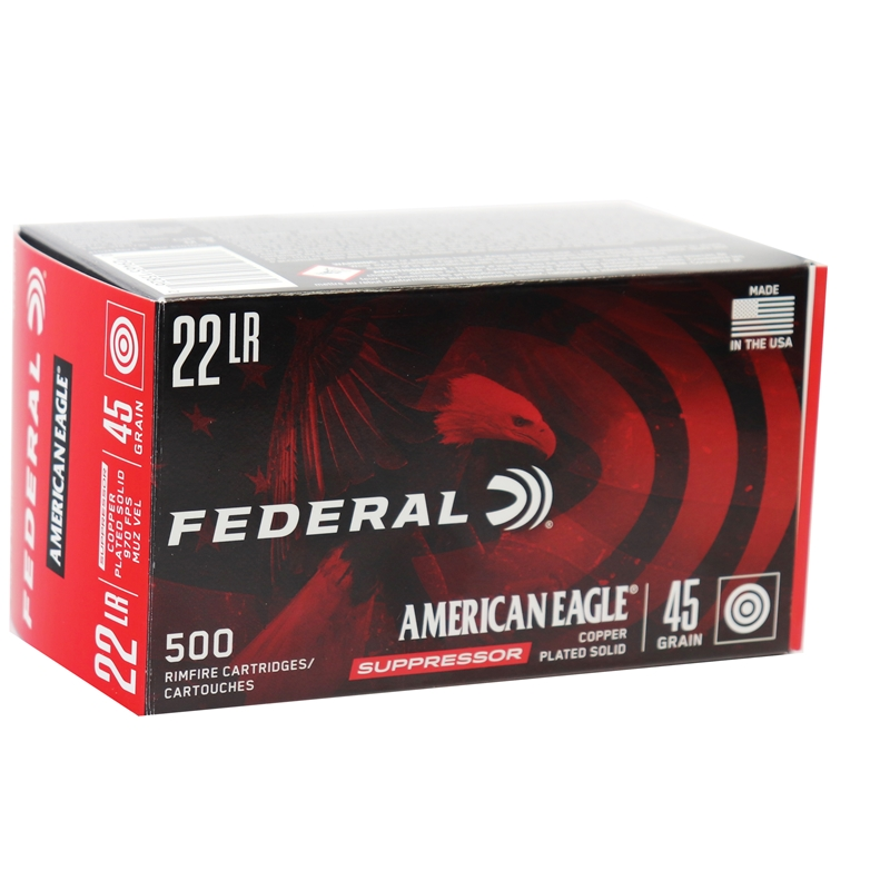 Federal American Eagle Suppressor 22 Long Rifle Ammo 45 Gr CPLRN