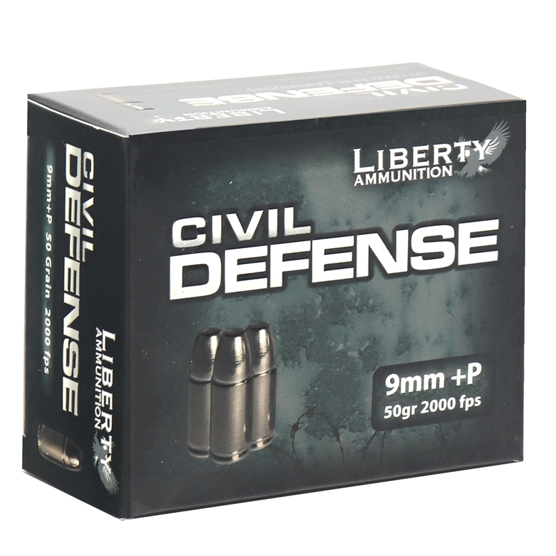 Liberty Civil Defense Ammo 9mm Luger +P 50 Grain Fragmenting HPLF