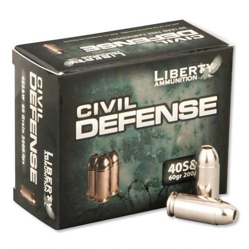 Liberty Civil Defense Ammo 40 S&W 60 Grain Fragmenting Hollow Point Lead-Free Ammunition