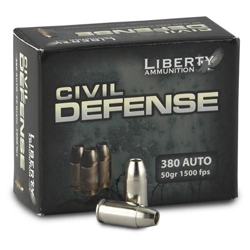 Liberty Civil Defense 380 ACP Auto Ammo 50 Grain Fragmenting HPLF