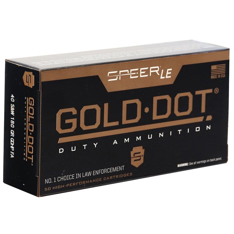Speer Gold Dot LE Duty 40 S&W Ammo 180 Grain JHP