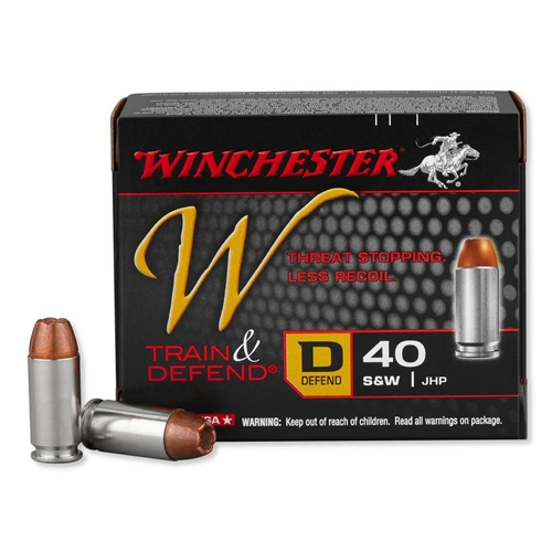 Winchester W Train & Defend 40 S&W 180 Grain JHP