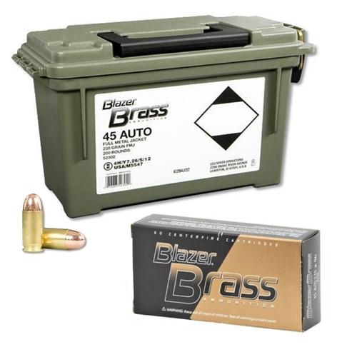 CCI Blazer Brass 45 ACP Auto Ammo 230 Grain FMJ 200 Rds Can