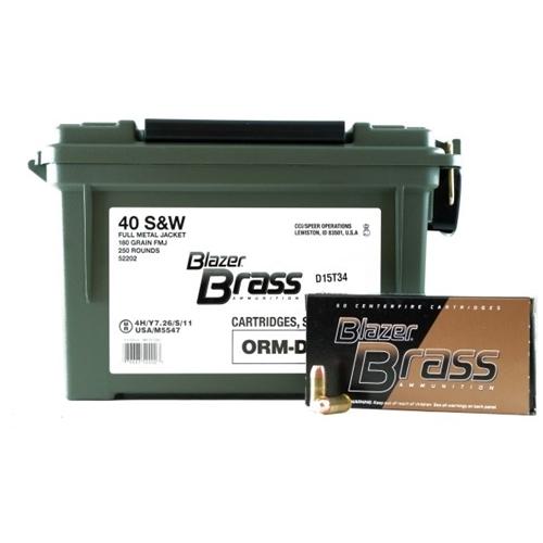 CCI Blazer Brass 40 S&W Ammo 180 Grain FMJ 250 Rounds in Ammo Can