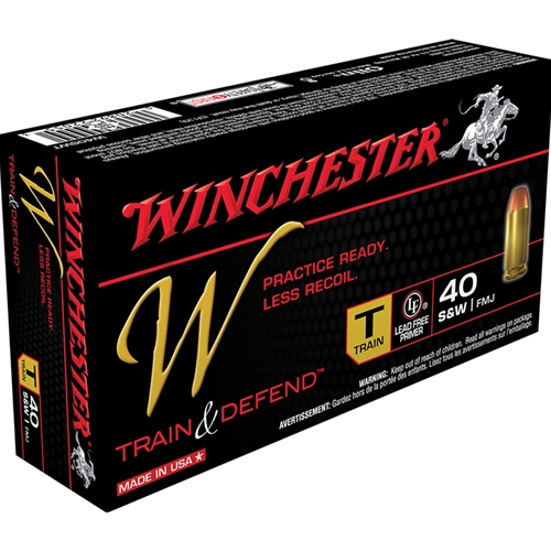 Winchester W Train & Defend 40 S&W 180 Grain Full Metal Jacket