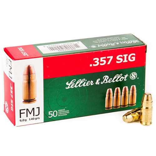 Sellier & Bellot 357 Sig Ammo 140 Grain FMJ