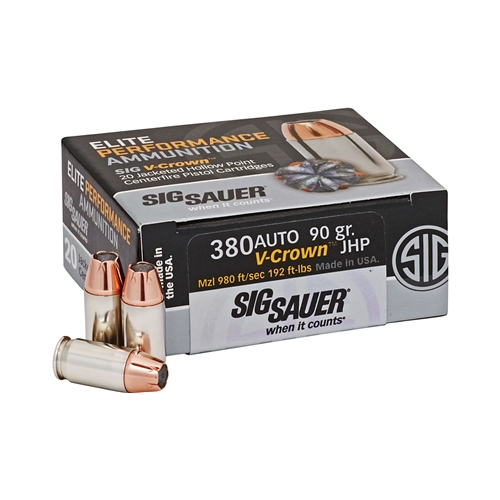 American Eagle Rebate >> Sig Sauer Elite Performance 380 ACP Ammo 90 Grain V-Crown JHP