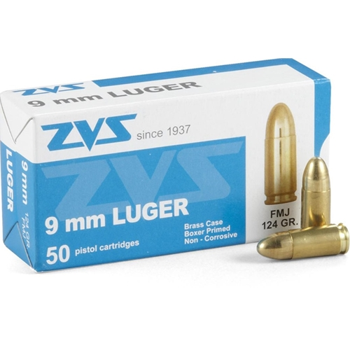 CIA ZVS 9mm Luger Ammo 124 Grain Full Metal Jacket