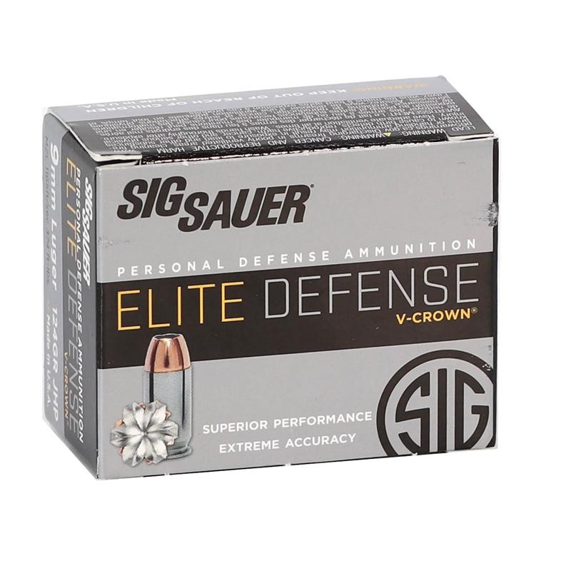 Sig Sauer Elite Performance 9mm Luger Ammo 124 Gr V-Crown JHP