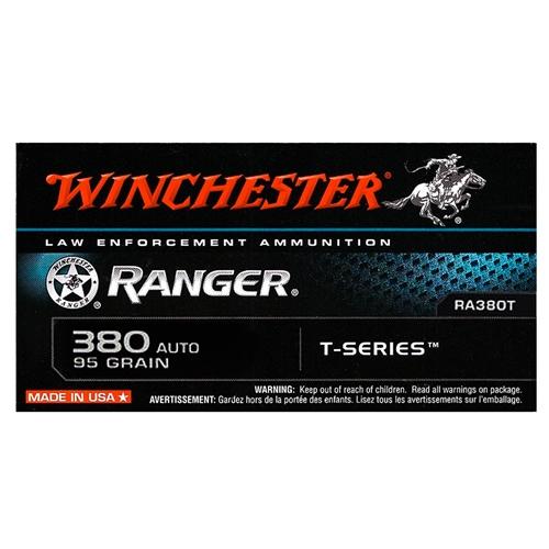 Winchester Ranger 380 ACP AUTO Ammo 95 Grain JHP T-Series
