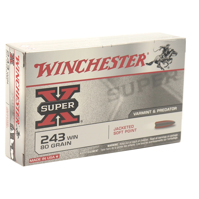 Winchester Super-X Power-Point 243 Winchester Ammo 80 Grain Jacketed Soft Point