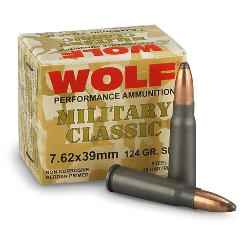 Wolf Military Classic 7.62x39mm Ammo 124 Gr SP Steel Case