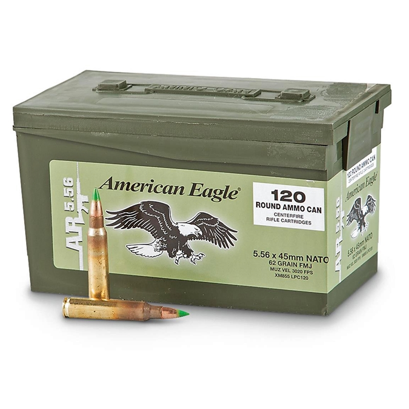 Federal American Eagle 5.56x45mm Ammo 62 Grain FMJ in Ammo Can