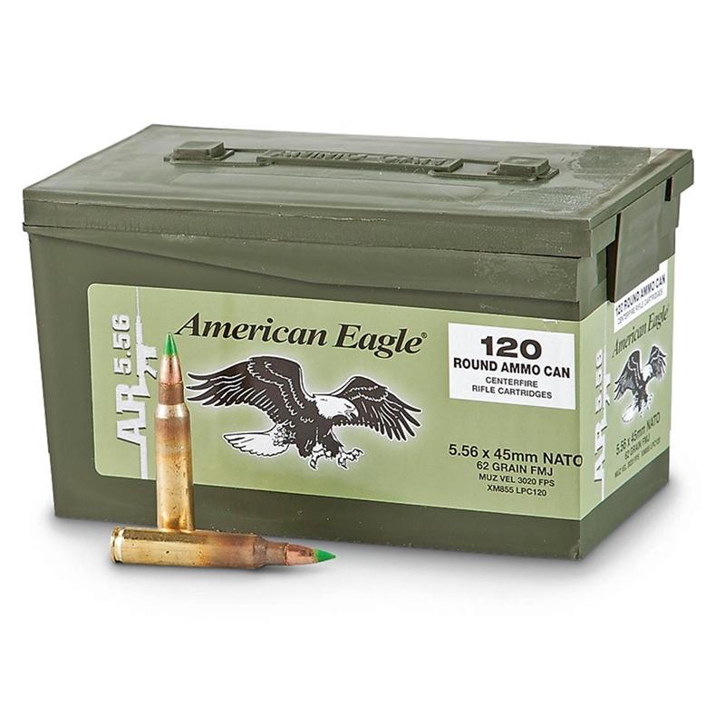 Federal American Eagle 5.56x45mm Ammo 62 Grain FMJ in Ammo Can