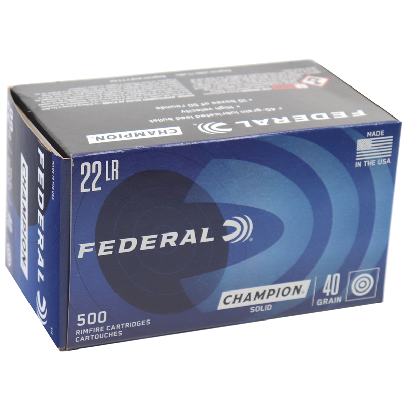 Federal Champion Target 22 Long Rifle Ammo HV 40 Gr LRN 500 Rds